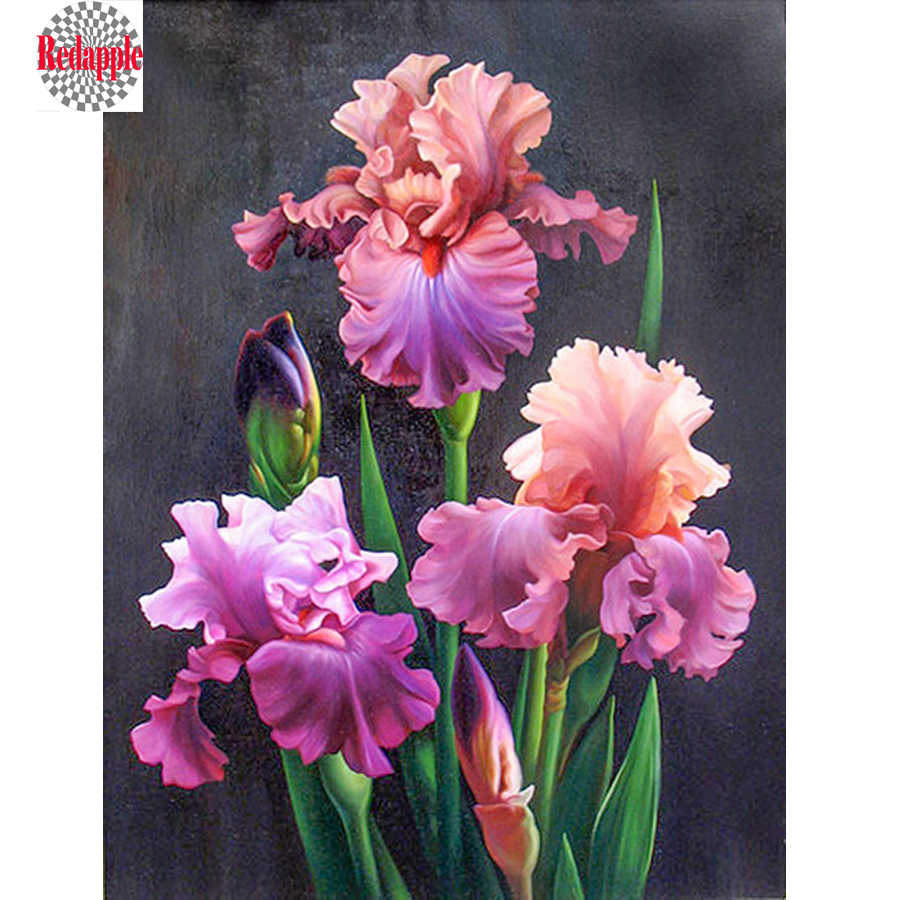 5D Diamond Painting Flower Diamond Mosaic Iris Flower 3D Diamonds Embroidery Full Flower Laying Picture Of Rhinestone paintings