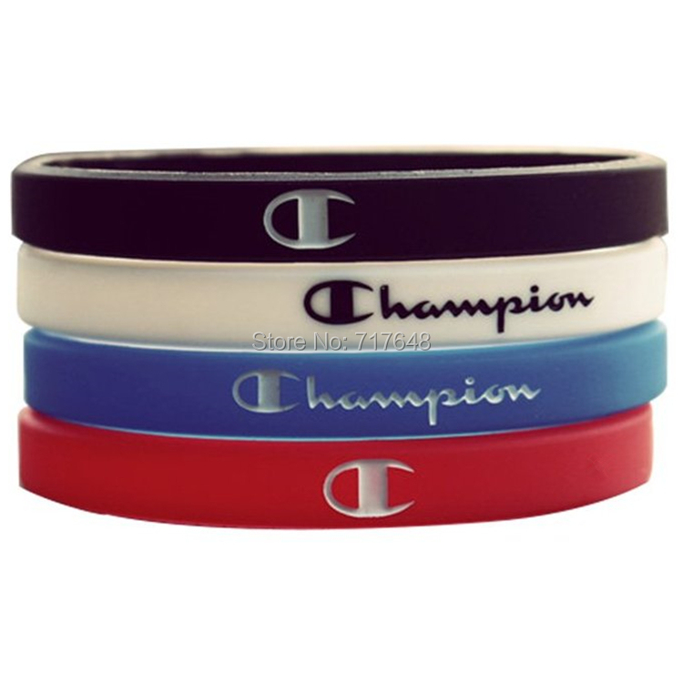 300PCS Champion wristband silicone bracelets free shipping by FEDEX-in Cuff Bracelets from Jewelry & Accessories