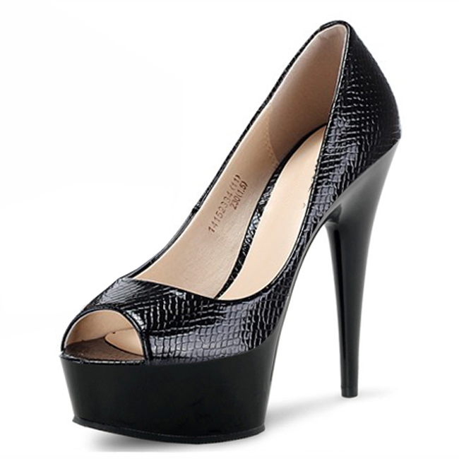platform peep toe pumps for women party 6 inch high heels. Black Bedroom Furniture Sets. Home Design Ideas