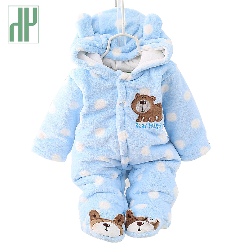 Baby winter romper warm flannel plush jumpsuit Baby Girl boys bear animal costume Hooded newborn baby bear pajamas overalls HH