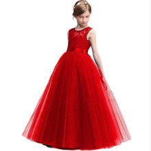 Princess Dress Girls Costume Birthday Party A-line Dress Long Tulle Teenage Girl Dress Children Clothes Sleeveless 4-14 Years