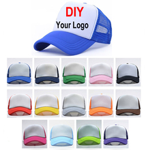 Customized Print Baseball Cap 100% Polyester Hats Blank Mesh Adjustable Adult Hat Solid Color Summer Outdoors