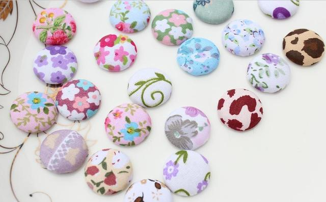 200pcs handmade Cotton Fabric Covered wrapped Buttons - flat backs 20mm, assorted colors floral,polka dots,gingham etc.