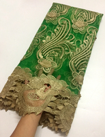 Nigerian Lace Fabrics For Wedding 2018, African French Lace Fabric High Quality 3D Lace Applique Wedding dress Green and gold