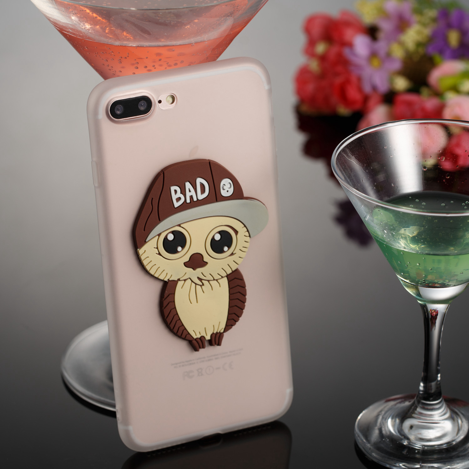 Capinhas TPU + PC 2 in 1 Cover Protective For iPhon 7plus 8plus Hard Heavy Silm Hybrid Duty Armor Shield Case Mens Owl pattern