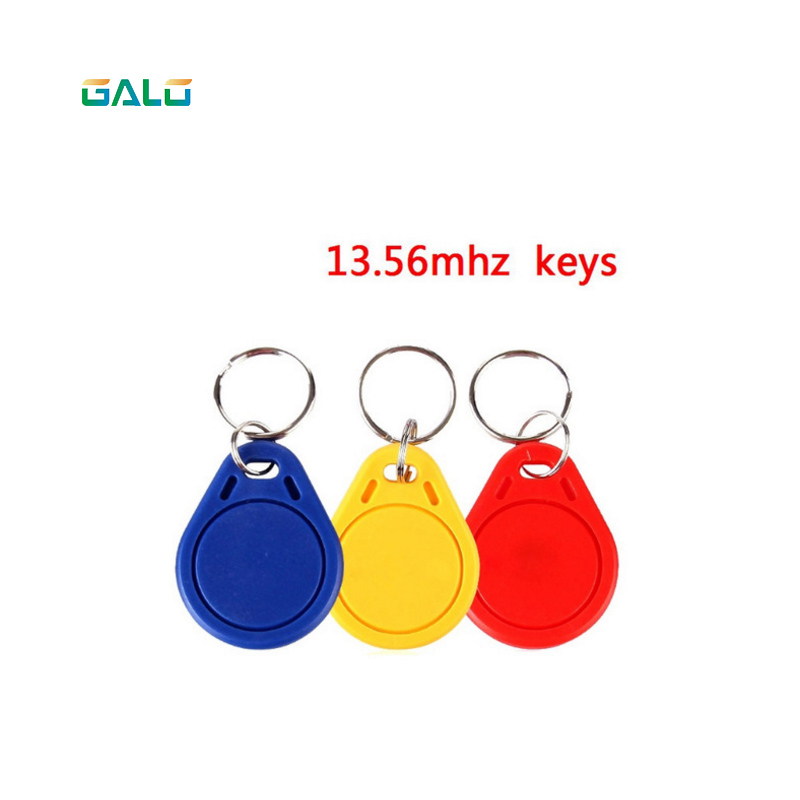 все цены на 100pcs/bagS50 RFID 13.56 Mhz IC Tag Token Key Ring IC cards Red Blue Yello choose