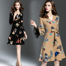 2017 Spring Autumn women European American Style dress V neck Flare sleeve three quarter sleeve belt  print ladies dresses