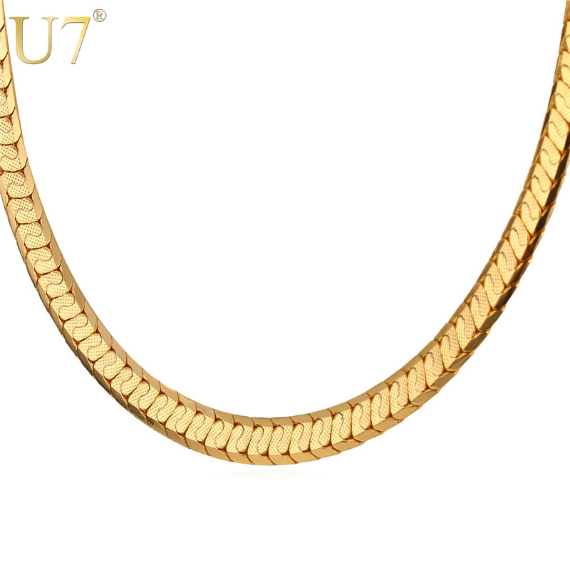 U7 Gold Color Scale Link Chain Men Jewelry Trendy Hip Hop Punk Rock Nugget Men Necklace Wholesale N494