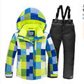 Winter Children Outerwear Warm Thicken Coat Sporty Ski Suit Sets Waterproof Windproof Boys Girls Jacket For 4-16T For -30 Degree