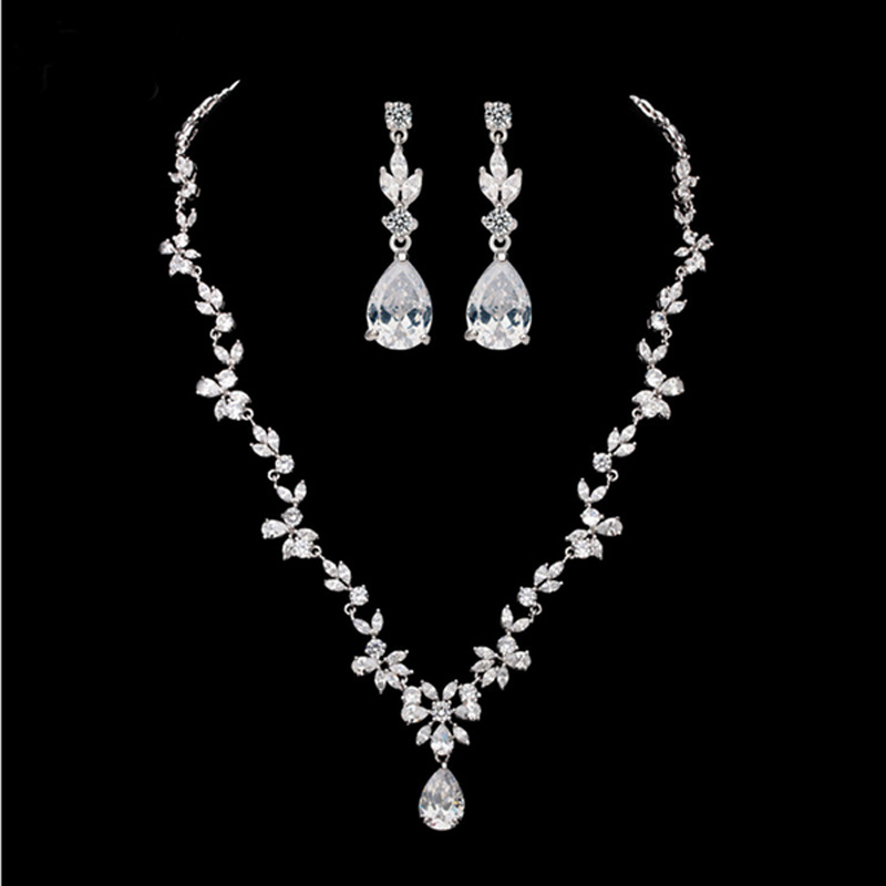 Moonso fashion 925 Sterling Silver Jewelry for women wedding drop Earrings and Necklace african bridal J1051 jjh moonso 925 sterling silver jewelry for women wedding austrian earrings and necklace african j1057 ge4