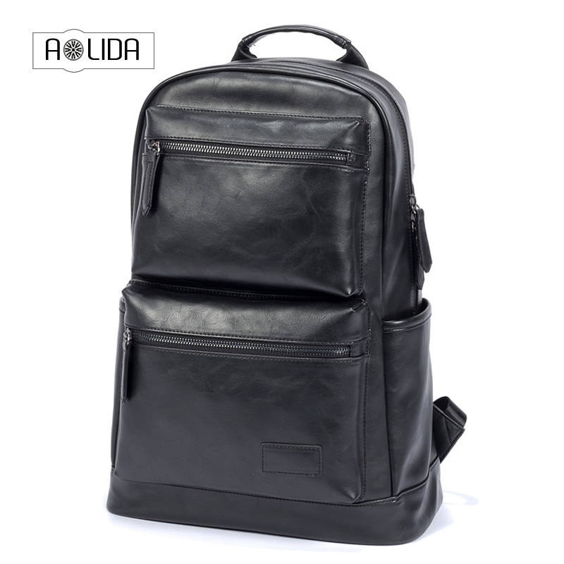 Good Quality Mens Backpack Black Brown PU Leather Travel Bag Men 14-inch Laptop Backbag Male Leisure High Capacity
