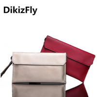 DikizFly 2017 Style Women Bags Chains Handbags Messenger Bag Genuine Leather Day Clutches Envelope Wristlets Clutch