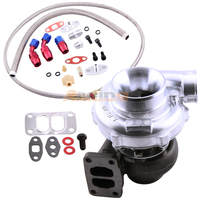 Universal T70 Turbo Turbocharger T3 .82 A/R Oil Drain Return FEED Line Kit A/R com .82 turbine .70 V Band Flange 550HP