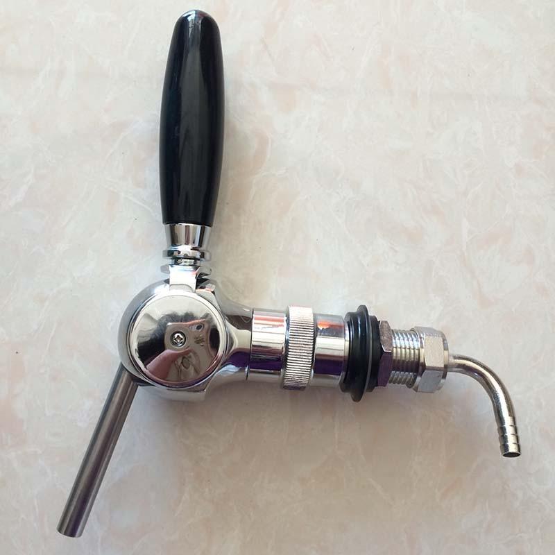 Belgischer Bierhahn, mit Durchflussregler, 30 mm Gewindeschaft, Wahser, Mutter und Schlauchstutzen, Messingmaterial, für Homebrew