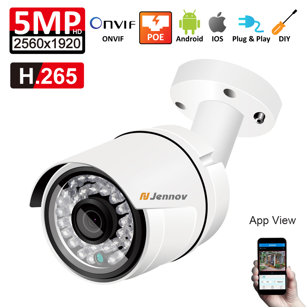 Phone Remote View Onvif 5MP H.265 IP POE Security Camera Bullet Outdoor Waterproof Video Surveillance Cameras Network Camera 2MP h 265 h 264 2mp 4mp 5mp full hd 1080p bullet outdoor poe network ip camera cctv video camara security ipcam onvif rtsp