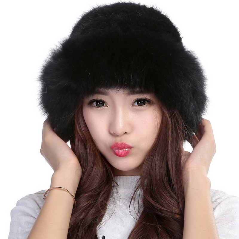 18154ac1 Valpeak Women Winter Fur Hat Female Real Knitted Mink Fur Hat Russian Warm  Genuine Natural Mink Fur Beanie Hat with Fox Brim-in Skullies & Beanies  from ...