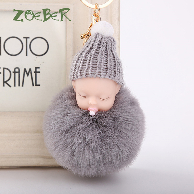02e090098c ZOEBER Sleeping Baby Doll Keychain Nipple Doll Pompom Fake Rabbit Fur Ball  Nipple Baby Keychain Car