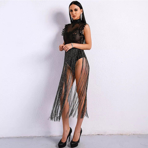 Image 4 - High Neck Sleeveless Lace Tassel Jumpsuit Nightclub Dress Stage Clothes For Singers Celebrity Dresses Birthday Outfits DNV10971
