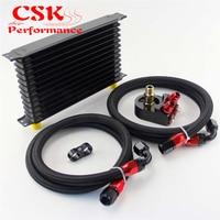 AN10 13Row 262mm Universal Engine Transmission Oil Cooler Trust Type + Aluminum Filter Hose End Kit Silver\/Blue\/Black\/Purple