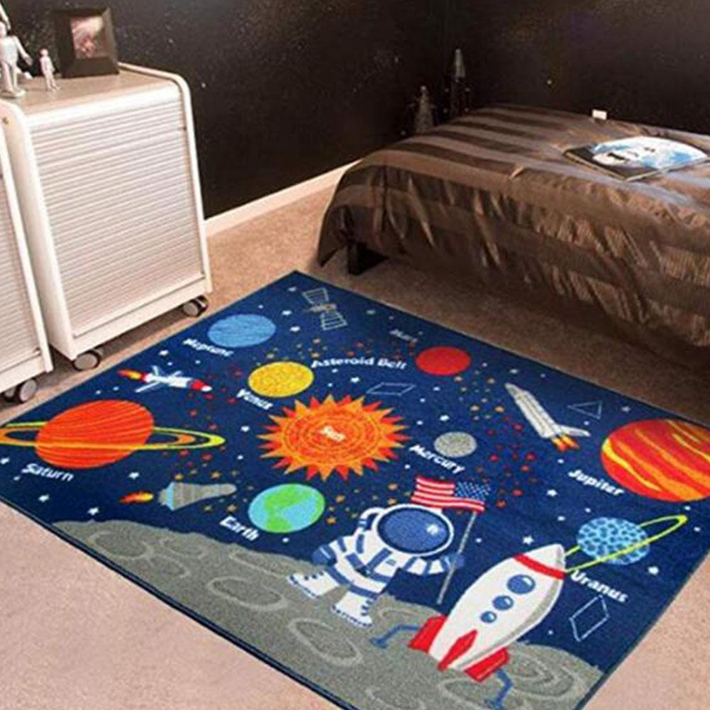 Enfants jouent tapis bande dessinée planète système solaire tapis d'impression 1000 MM x 1300 MM bébé jouer ramper tapis textiles de maison