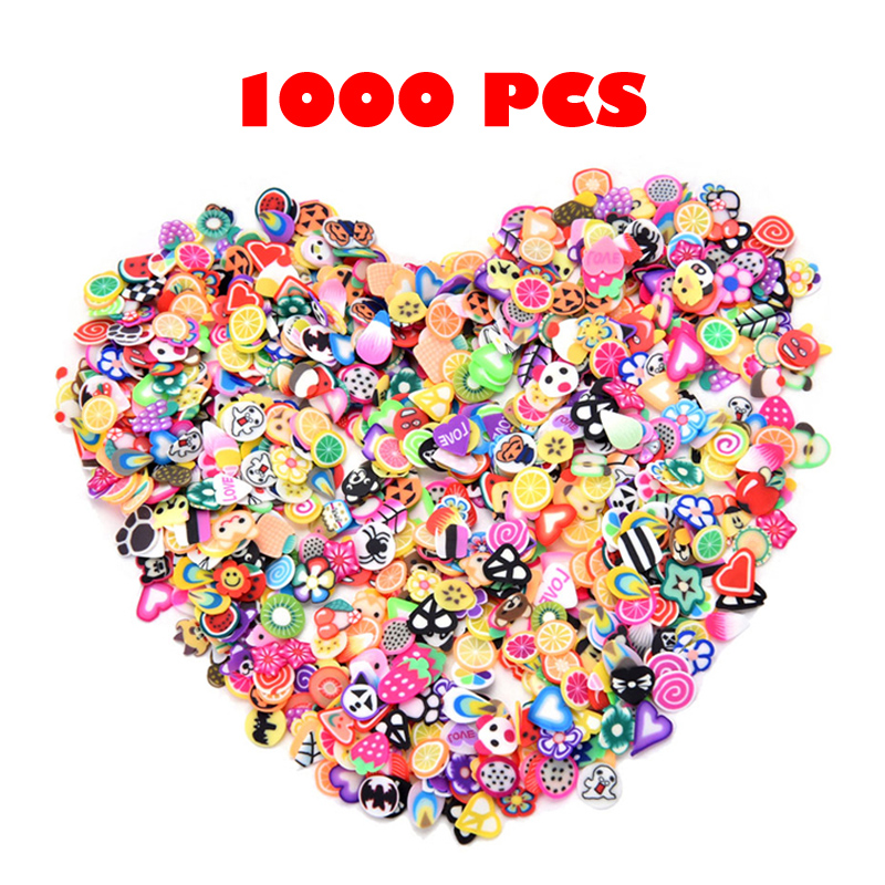 1000pcs Slime Stickers Kids Toys Mixed 3D Fruit Slices Filler For Nails Art Tips Cell Phone Decoration Slime Accessories