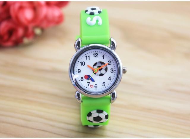 New 3D Cartoon fashion silicone football kids Watch Children Girls Boys Students Quartz Wristwatches relogio kol saati clock