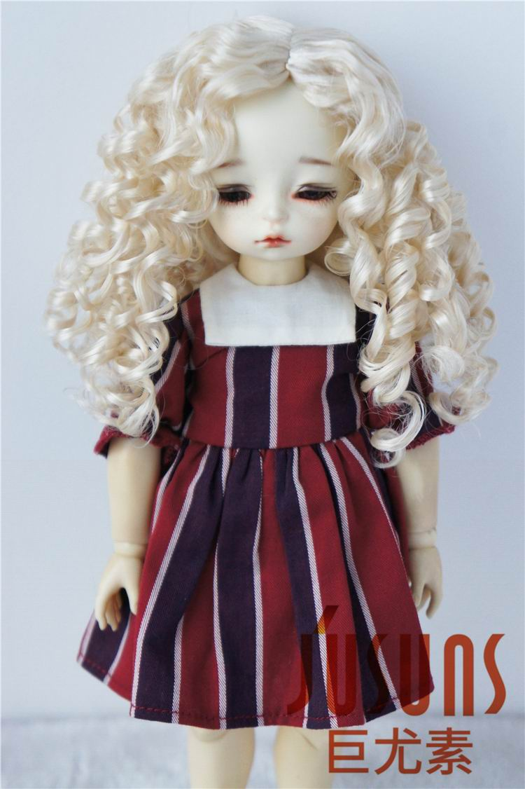 JD073 1/12 1/8 1/6 Long curly classic BJD wigs 3-4inch 5-6inch 6-7inch Middle part line Synthetic mohair hair doll accessories fluffy synthetic lolita curly flax mixed gold long side bang capless cosplay wig for women