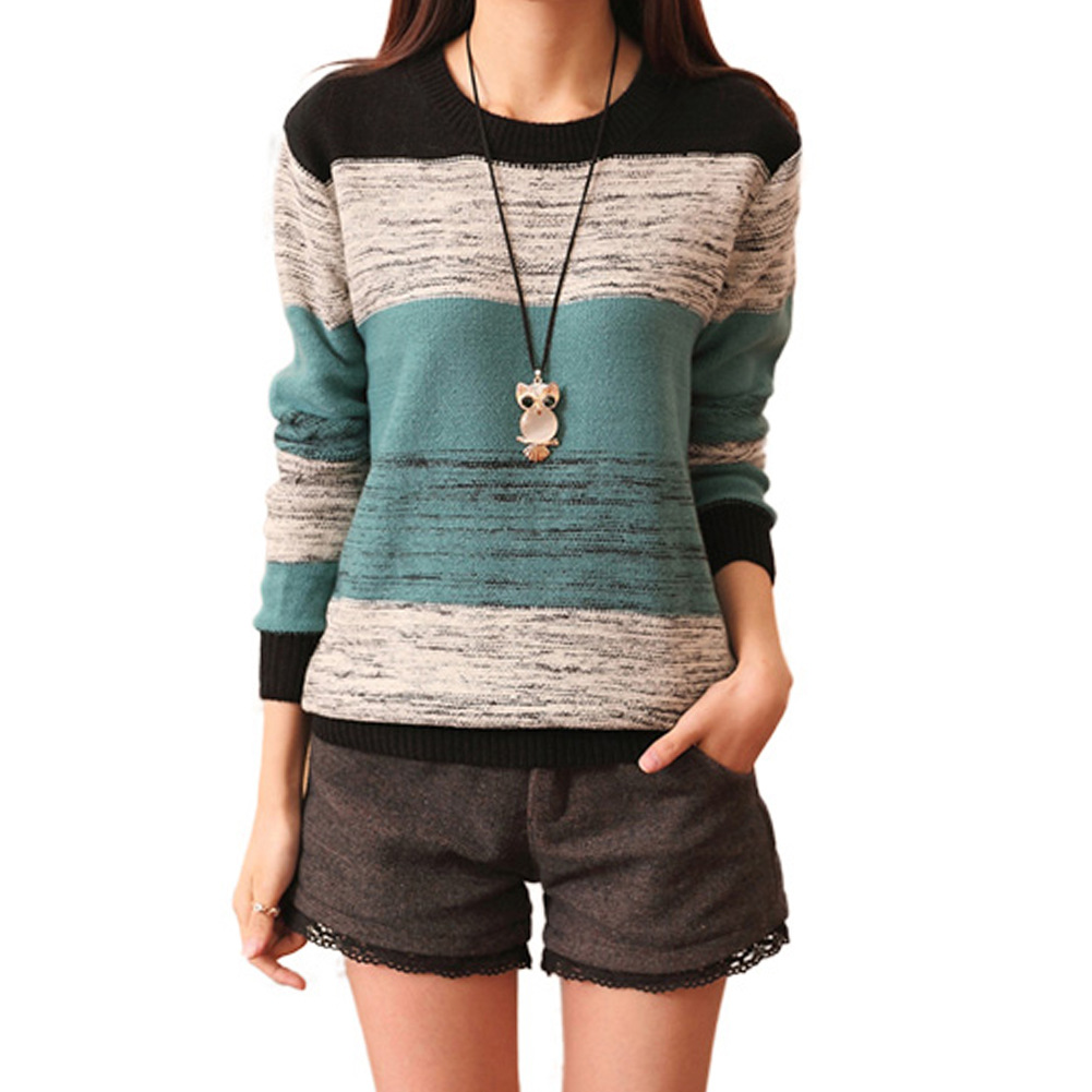 >Female striped turtleneck sweater round neck long sleeved shirt color loose sweater<2