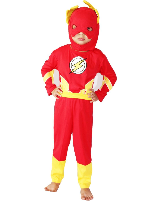 3 - 7 metai Trijų dalių kostiumas Ilgos rankovės Vaikų vaikas Flash modeliavimo kostiumai Blitzmann Žaisti drabužius Helovinas