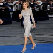 Серебристые платья для матери невесты, кружевное короткое свадебное платье длиной до колена с длинным рукавом, свадебные платья для мамы