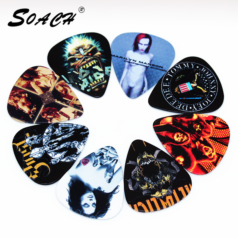 soach 10pcs 0 46mm guitar paddle blue background personality mixed pattern pvc double sided printing instrument accessories SOACH 10pcs Newest  Custom-made band Guitar Picks Thickness 1.0mm  Guitar Accessories