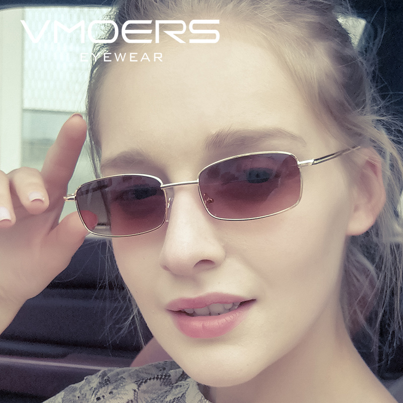 VMOERS Metal Small Rectangle Sunglasses Women 2018 Fashion Shades Female Brand Oculos feminino Brown Lens Sun Glasses For Women in Women 39 s Sunglasses from Apparel Accessories