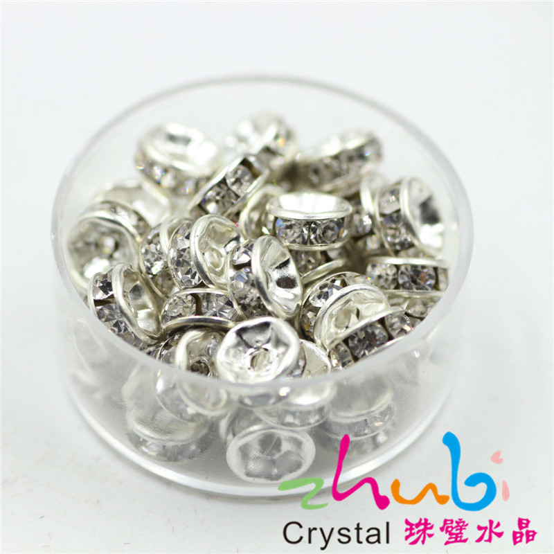 White Color 6MM 50PCS/LOT European Big Hole Round Loose Glass Crystal Space Bead Charms For DIY Jewelry Making Bracelet Bangle