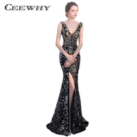 CEEWHY Double Shoulder V Neck Luxury Mermaid Dubai Long Evening Dresses Sequined Beaded Trumpet Prom Dress