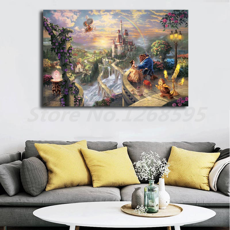 Thomas kinkade hd painting beauty beast falling in love - Home interiors thomas kinkade prints ...