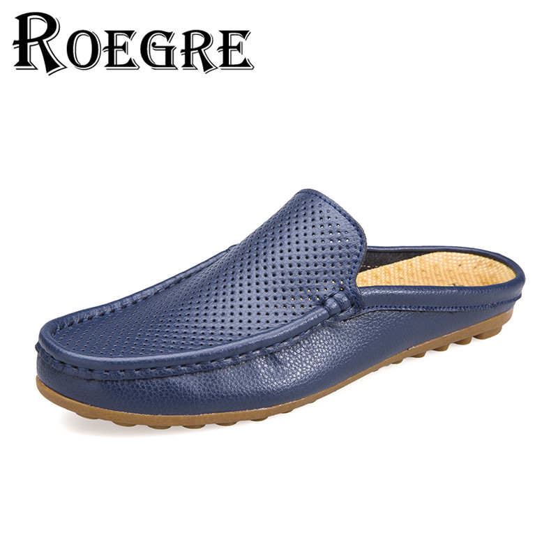 ROEGRE 2017 New Summer Men Leather Loafers Shoes Hollow