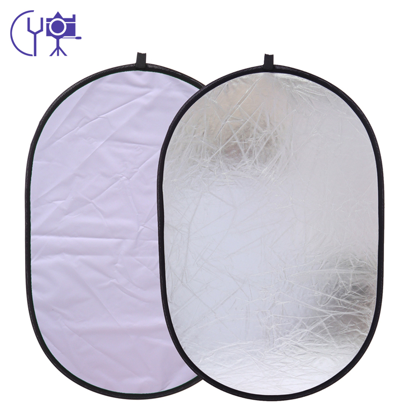 CY 24x35inch 60x90cm silver and white 2in1 oval camera photo Accessories portable multi photography handhold collapsible reflector