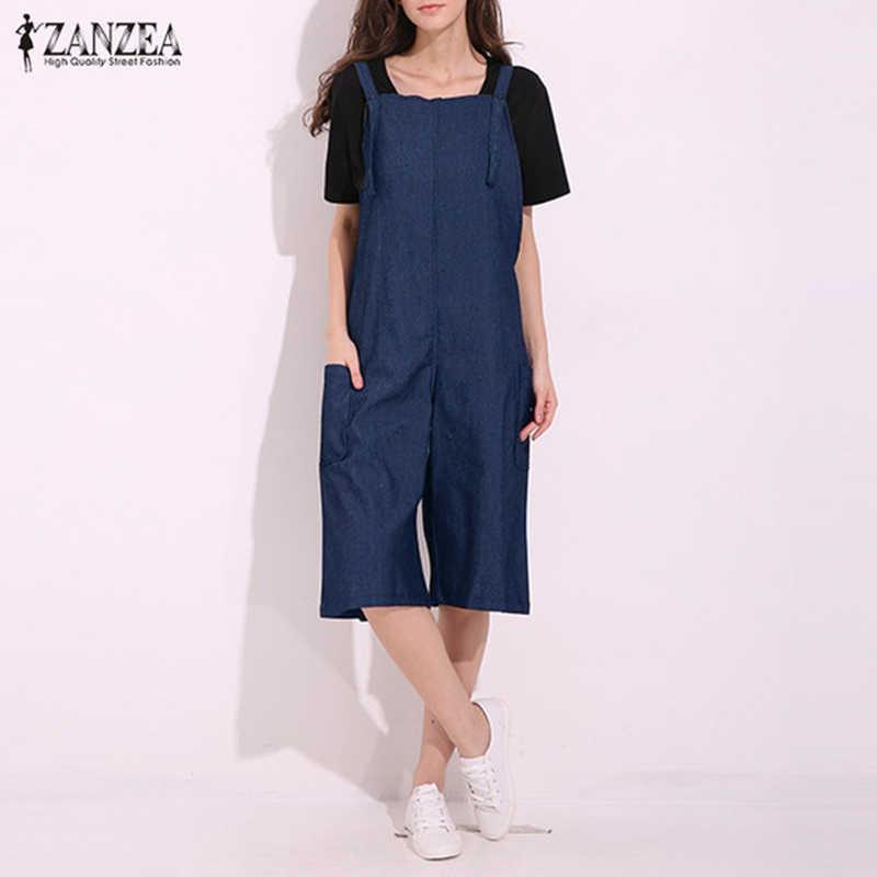 962b7d0023 ZANZEA Womens Jumpsuits 2018 Adjustable Strappy Dungaress Pockets Wide Leg  Denim Blue Retro Rompers Calf Length