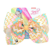 8 Party Bows Print Grosgrain Ribbon Large Hair For Girls With Clips Hairgrips Kids Accessoires