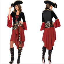 high quality Sexy Women Pirate Costume Halloween 2016 New Black  red Pirate Cosplay Dress new Year Carnival Party Adult Costumes