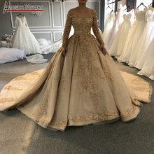 2020 Golden full beading wedding dress sparkling luxury long train wedding gown not including veil