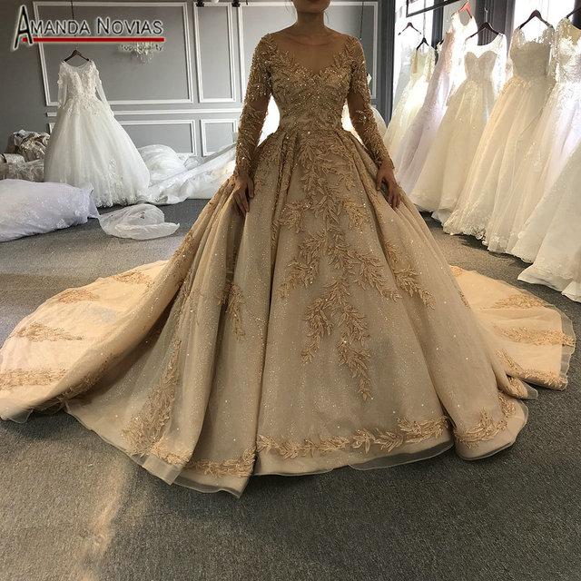 2020 goldenen voll perlen hochzeit kleid funkelnden luxus lange zug brautkleid ohne schleier