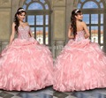 2016 Sweetheart Organza Tiered Ball Gown Beaded Crystal Full length Prom Dresses vestidos Light Pink Quinceanera Dresses 0497
