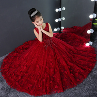 Communion Party Dress Princess Girls Floral Clothing Emboridery Beading Kids Ball Gowns Sleeveless Birthday Banquet Dresses F634