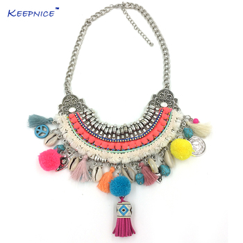 New Handmade Bohemian Boho Choker Necklaces Harmony Ball Colorful Pompoms Pendants Beaded Charm Beige Necklace