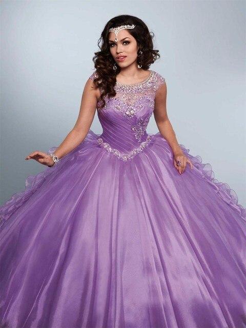 9533f43fd43 Light Purple Blue Ball Gown Scoop Taffeta Quinceanera Dresses Short Cap  Sleeve Beads Crystal Ruffles Pleat Formal Dresses