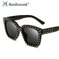 2017 New Fashion Rail Sunglasses For Women Brand Designer Luxury Black Plastic Vintage Hipster Square Sun Glasses Female Lunette