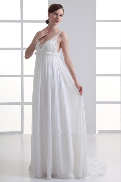 White Maternity Wedding Dress For Pregnant Women V Neck Zipper Sweep Train Plus Size