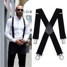 Male suspenders leather alloy 4 clips Braces Male Vintage suspensorio Trousers Strap Braces 5*120cm Elastic Pants Straps Gift &2