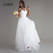 LORIE Beach Wedding Dress With Spaghetti Straps 2017 Vintage Lace Top Sexy Bridal Dresses China Custom Made Robe de mariee